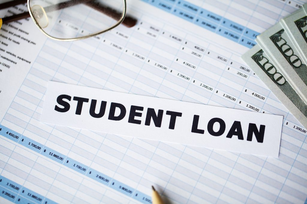 Picture of the text student loan on financial documents